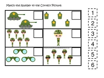 Military Support Our Troops (boys) Match the Number preschool math game.