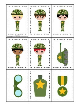 Military Support Our Troops (boys) Memory matching preschool game.  Daycare.