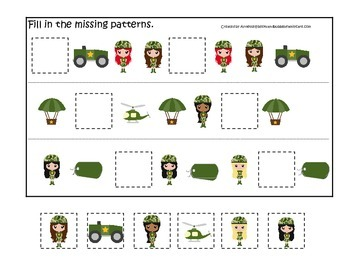 Military Support Our Troops (girls) Fill in the Missing Pattern preschool game.