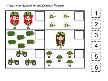 Military Support Our Troops (girls) Match the Number preschool math game.