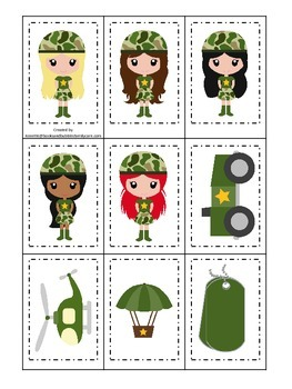 Military Support Our Troops (girls) Memory Matching preschool game.  Daycare.