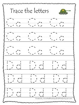Military Support Our Troops themed A-Z Tracing preschool printable worksheets.