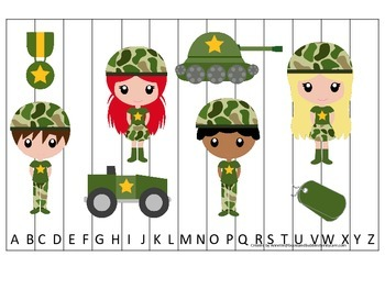 Military Support Our Troops themed Alphabet Sequence Puzzle preschool printable.