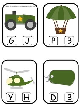 Military Support Our Troops themed Beginning Sound Clip it Cards preschool game