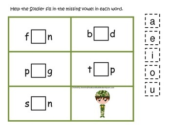 Military Support Our Troops themed CVC #1 preschool printable activity.