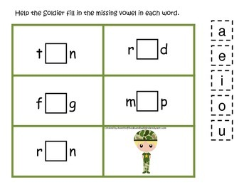 Military Support Our Troops themed CVC #3 preschool printable activity.