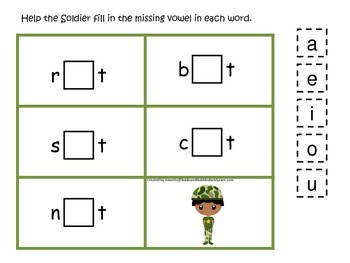Military Support Our Troops themed CVC #5 preschool printable activity.