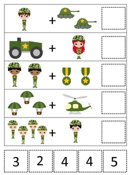 Military Support Our Troops themed Math Addition preschool game.  Printable game
