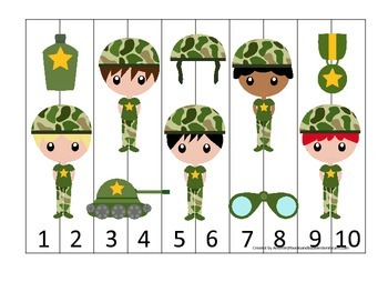 Military Support Our Troops themed Number Sequence Puzzle 1-10 preschool game.