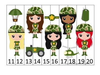 Military Support Our Troops themed Number Sequence Puzzle 11-20 preschool game.