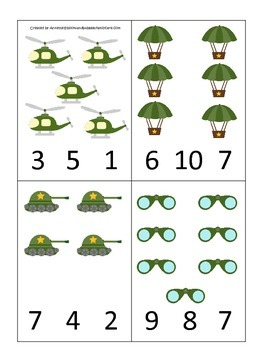 Military Support Our Troops themed Numbers Count and Clip Cards preschool activi