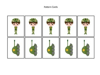 Military Support Our Troops themed Pattern Cards #1 preschool printable activity