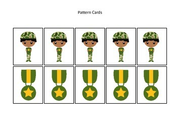 Military Support Our Troops themed Pattern Cards #2 preschool printable activity