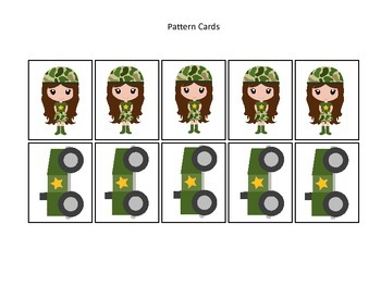 Military Support Our Troops themed Pattern Cards #3 preschool printable activity