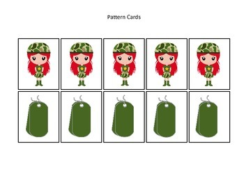 Military Support Our Troops themed Pattern Cards #4 preschool printable activity