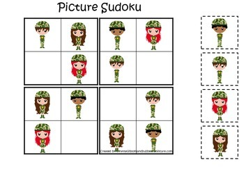 Military Support Our Troops themed Picture Sudoku preschool printable activity