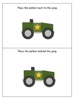 Military Support Our Troops themed Positional Cards preschool printable activity