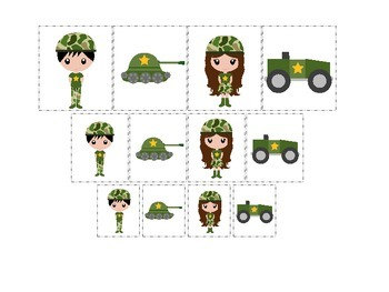 Military Support Our Troops themed Size Sorting preschool printable activity.