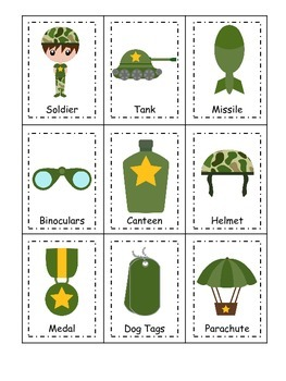Military Support Our Troops themed Three Part Matching preschool learning game.