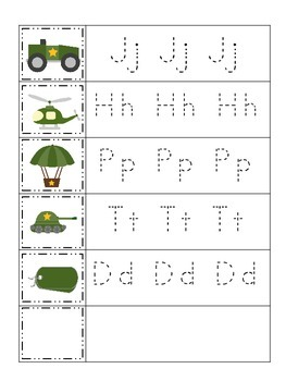 Military Support Our Troops themed Trace the Letter preschool printable workshee