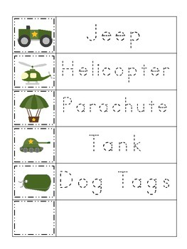 Military Support Our Troops themed Trace the Word preschool printable workshee