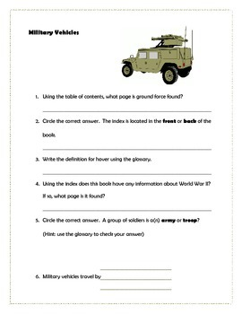 Military Vehicles nonfiction book study