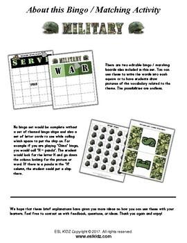 Military Veteran's / Memorial Day Bingo Matching Activity