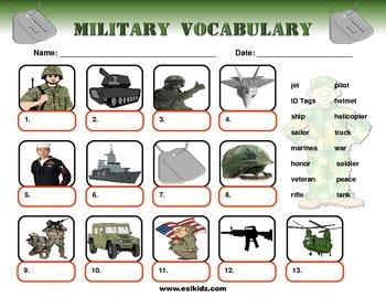 Military Veteran's Day identification worksheet