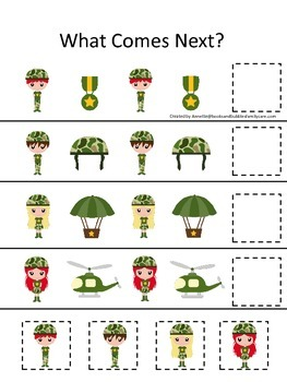 Military What Comes Next preschool math game.  Printable daycare curriculum.