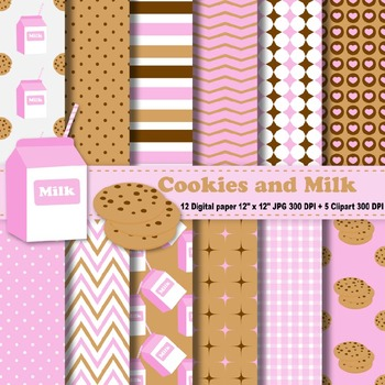 Milk And Cookies Digital Paper + Clipart