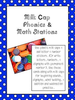 Milk Cap Literacy & Math Stations