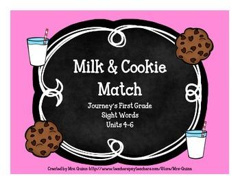Milk & Cookie Sight Word Match (Journeys First Grade Units 4-6)