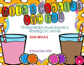 Milk & Cookies CVC Fun Short Vowel Picture Word Sort Kindergarten