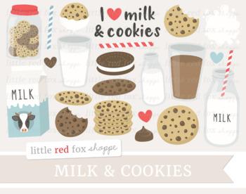 Milk & Cookies Clipart; Chocolate Chip Cookie, Milk Bottle, Cookie Jar, Carton