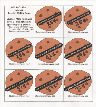 Milk & Cookies - Math & Decision-Making Game for Elementary / Middle