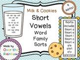 Milk & Cookies Short Vowels Word Family Sorts *9 SORTS!