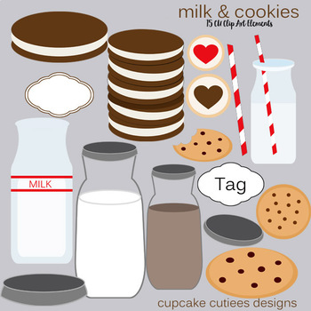 Milk and Cookie Digital Clip Art Element Set