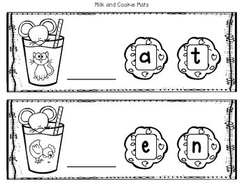 Milk and Cookies CVC Word Mats and Printable-Freebie!