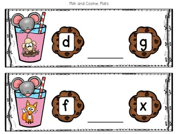 Milk and Cookies CVC Word Mats and Printables