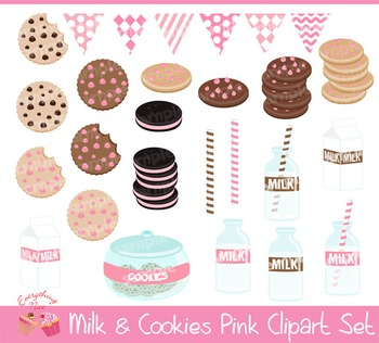 Milk and Cookies Pink Clipart Set