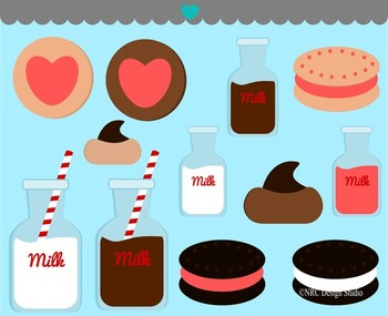 Valentine milk cookies clipart commercial use