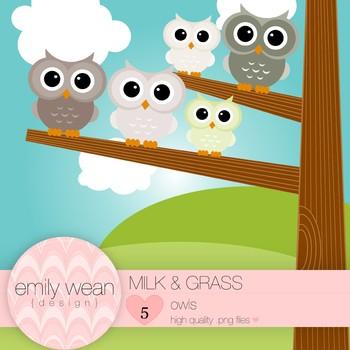 Milk and Grass - Owl Clip Art