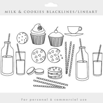 Milk and cookies blacklines clipart - food clip art biscui