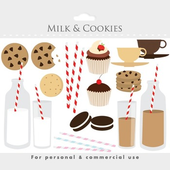Milk and cookies sweets clipart - food clip art, biscuits, striped straws, food