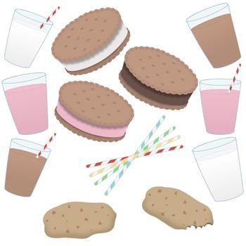 Milk, straws, and cookie clip art