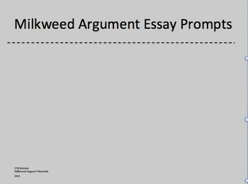 Milkweed Argument Essay Prompt PowerPoint