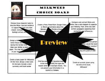 Milkweed Choice Board Novel Study Activities Menu Book Project Tic Tac Toe