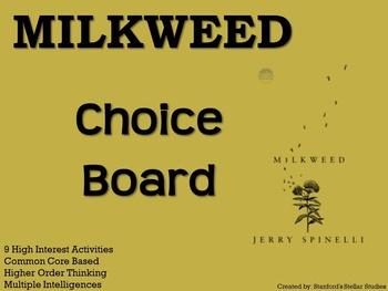 Milkweed Choice Board Novel Study Activities Menu Book Project Tic Tac Toe