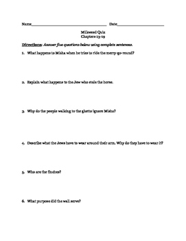 Milkweed by Jerry Spinelli Quiz 3