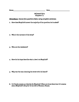 Milkweed by Jerry Spinelli Reading Quiz Ch. 1-7